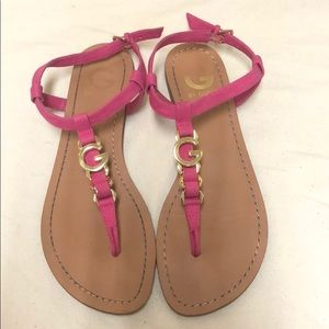 G By Guess Pink LEXANN LOGO SANDALS
